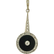 Beautiful Art Deco Mine-Cut and Rose-Cut Diamond and Onyx Pendant in Platinum and Gold