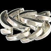 Bold Vintage Los Ballesteros Sterling Silver Black Onyx Bracelet Taxco Mexico