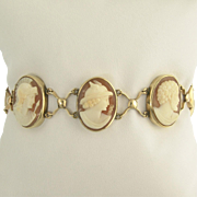 Captivating Victorian God and Goddess Cameo Bracelet in 10k