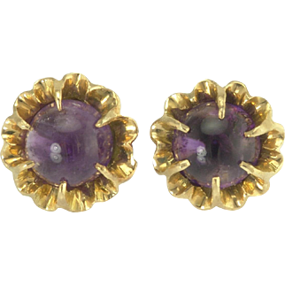 Large Antique Victorian Amethyst Cabochon 14k Gold Buttercup Stud Earrings