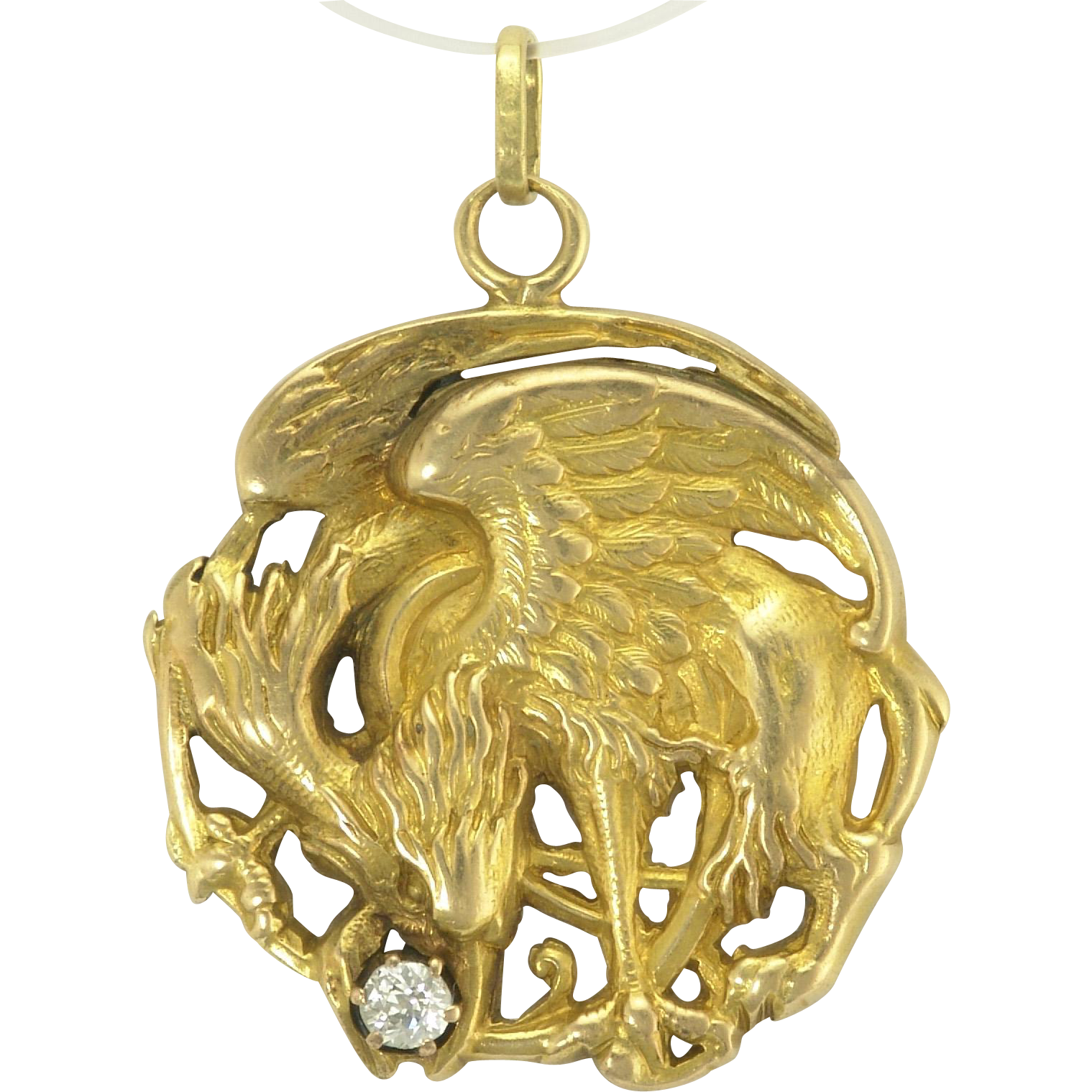 Antique Art Nouveau 18k Gold Diamond Griffin Gryphon Pendant