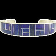 Vintage Lapis Lazuli Sterling Silver Cuff Bracelet