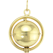 Clever Retro 14k Gold Multi Photo Ball Locket Pendant Charm