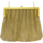 Fine Edwardian 14k Gold Diamond Sapphire Mesh Evening Bag Purse