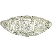 Vintage Art Deco European Cut Diamond Platinum Filigree 3 Stone Ring