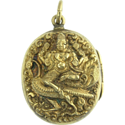 Antique Victorian 18k Gold Indian Goddess Lakshmi Peacock Repousse Figural Locket - Wealth and Prosperity