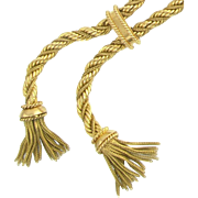 Vintage French 18k Gold Twisted Rope Chain Double Tassel Negligee Necklace