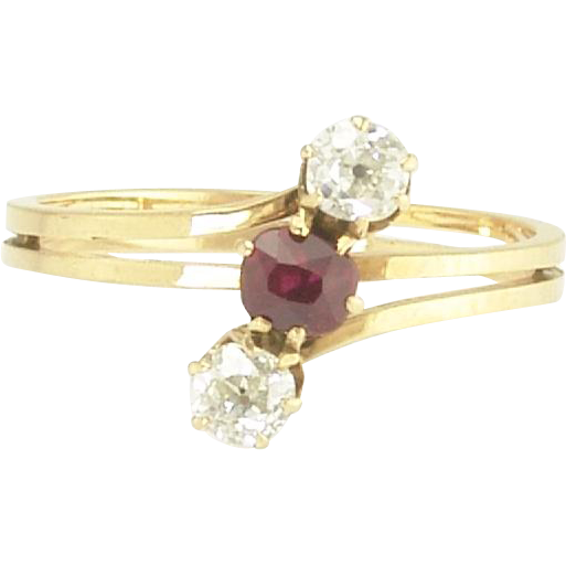 Pretty Antique Edwardian Ruby and Mine-Cut Diamond Ring in 14k