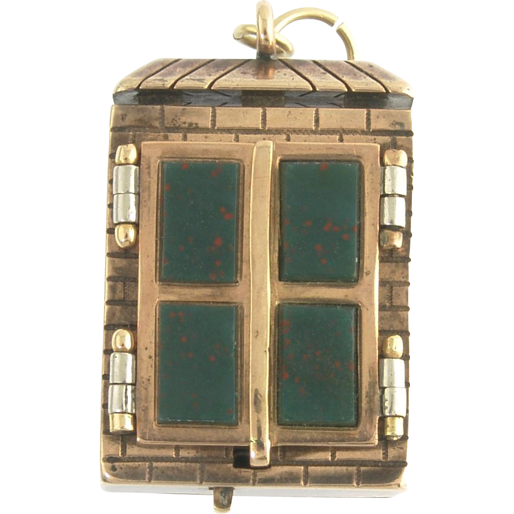 Antique Victorian 14k Gold Bloodstone Sardonyx Mechanical Window Watch Fob Locket
