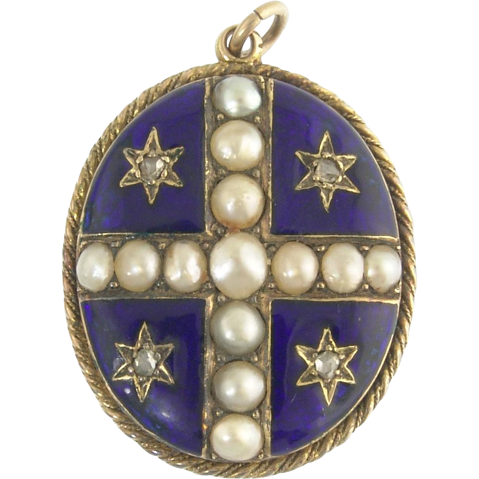 Antique Victorian English 15k Gold Rose Cut Diamond Pearl Cross and Stars Enamel Locket