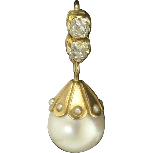 Winning Vintage Cultured Pearl and Mine-Cut Diamond Pendant Earrings in 14k circa 1930s