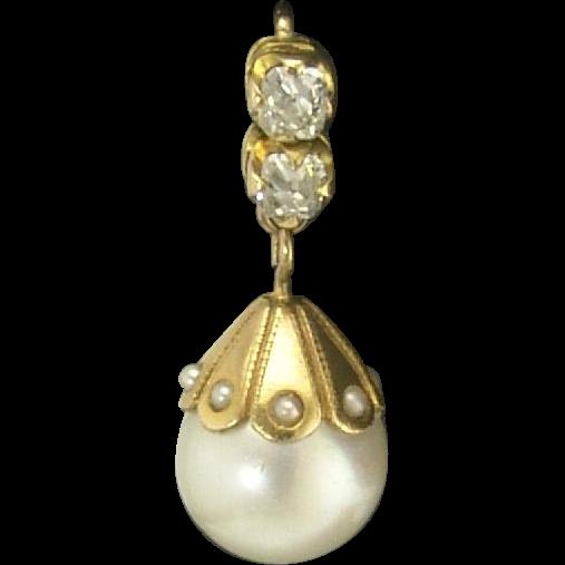 Winning Vintage Cultured Pearl and Mine-Cut Diamond Pendant Earrings in 14k circa 1930s