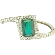 Paul Binder Vintage Swiss Green Tourmaline and Diamond Bangle Bracelet in 18k White Gold - Designer Signed