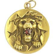 Antique Victorian Lion Locket in 14k Gold with Garnets