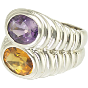 Vintage BVLGARI Bulgari Doppio Ring - Amethyst and Citrine in 18k White Gold
