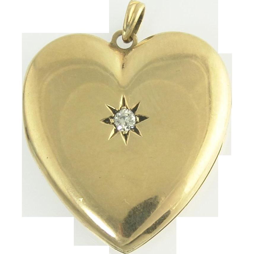 Endearing Diamond Heart Locket in 14k Gold