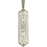 Art Deco Old European Cut Diamond and White Gold Filigree Upcycled Pendant