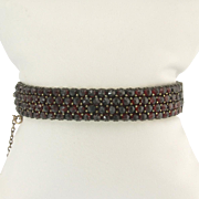 Tasty Victorian Rose-Cut Garnet Bangle Bracelet
