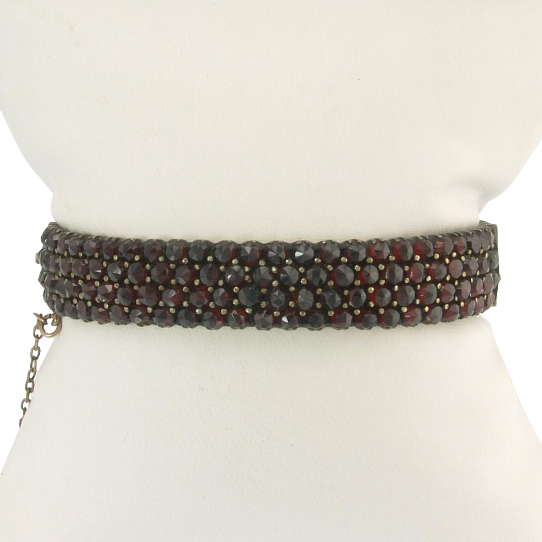 Tasty Victorian Rose-Cut Garnet Bangle Bracelet