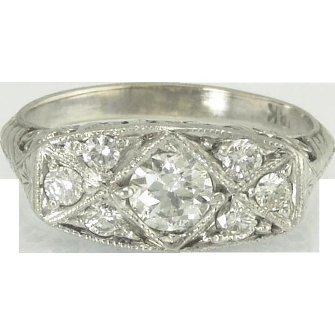 Romantic Art Deco Diamond Heart Filigree Ring in 18k White Gold