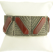 Striking Art Deco Carnelian and Marcasite Bracelet in Sterling Silver