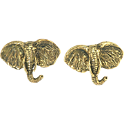 Vintage 14k Gold Elephant Cufflinks