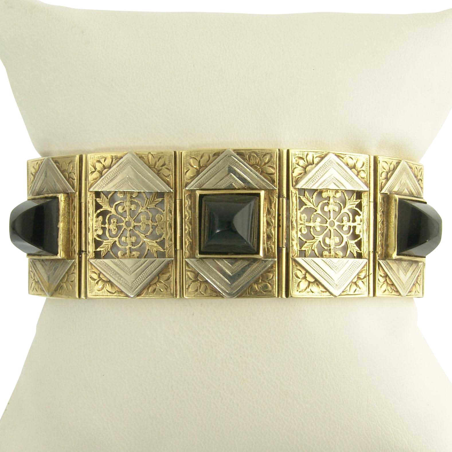 Ultimate Wide Art Deco Onyx Bracelet in 14k Yellow and White Gold