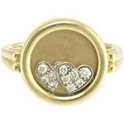 Teufel Kinetic Vintage Diamond Double Heart Ring in 14k Gold