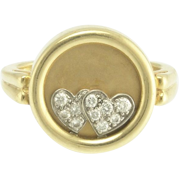 Teufel Kinetic Vintage Diamond Double Heart Ring in 14k Gold