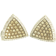 Estate Champagne and White Diamond 18k Gold Convertible Earrings - French Clip or Clip