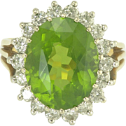 Juicy Estate Peridot and Diamond Ring in 14k Yellow and White Gold