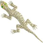 Frisky Antique Mine-Cut Diamond and Emerald Chameleon Pin in 18k Yellow and White Gold