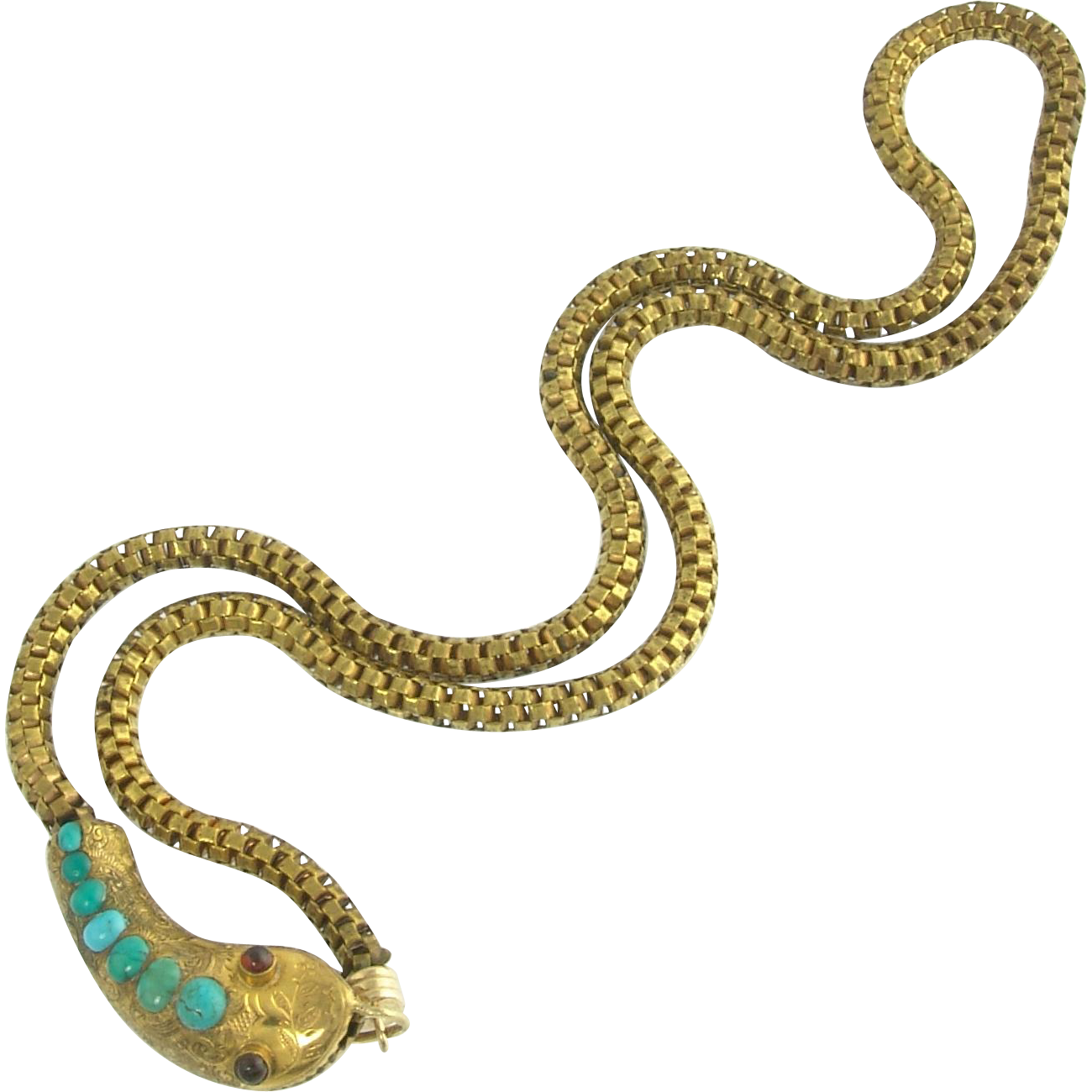 Wonderful Victorian Turquoise and Garnet Gold Filled Snake Necklace