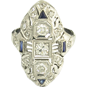 Art Deco Diamond Sapphire Filigree Dinner Ring in 18k White Gold - 1.03cttw