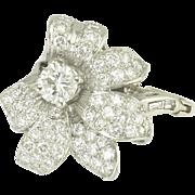 Beautiful Estate Diamond Flower Cocktail Ring in Platinum