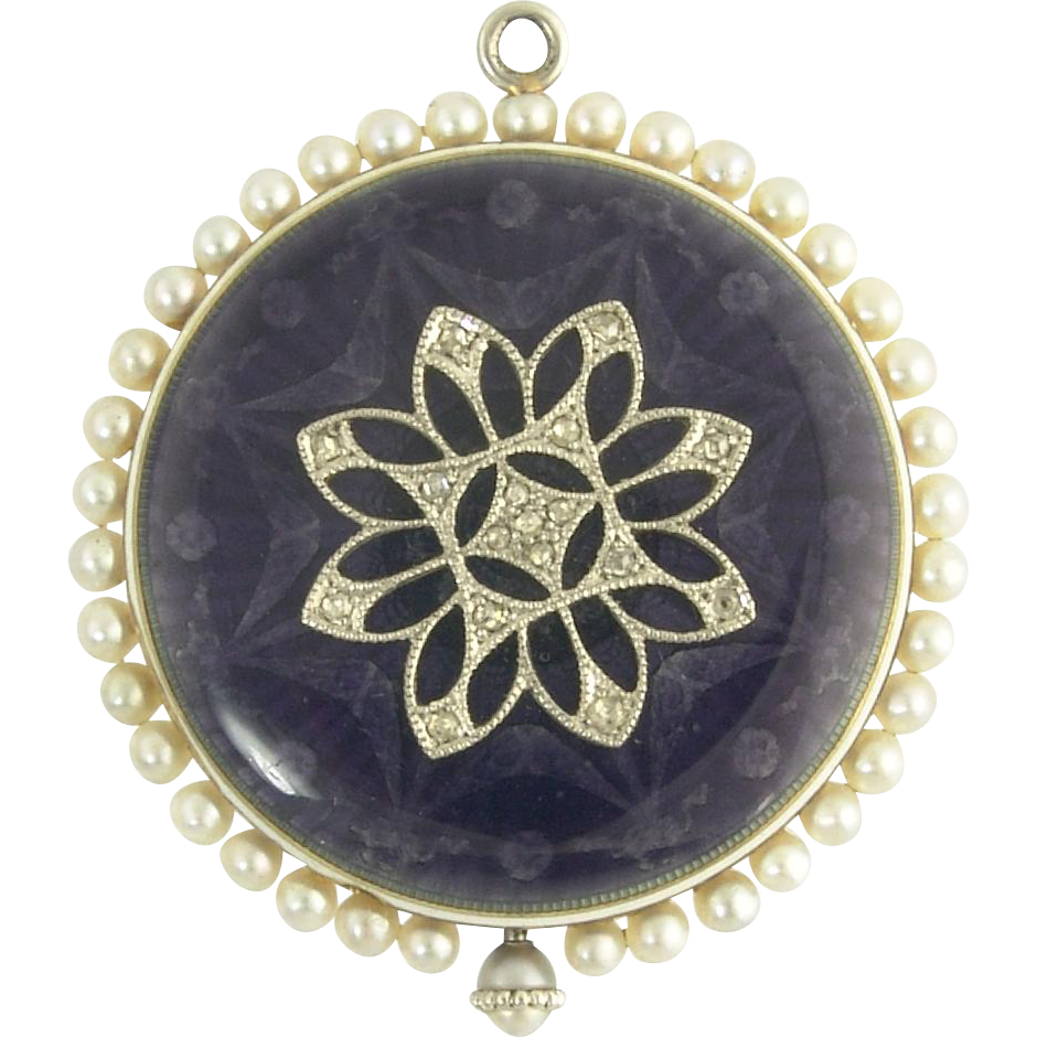 Lovely Wittnauer and Co Antique Diamond Enamel and Pearl Pendant Watch in 14k