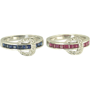 Stylish Pair of Estate Ruby, Sapphire and Diamond Buckle Motif Rings in14k White Gold