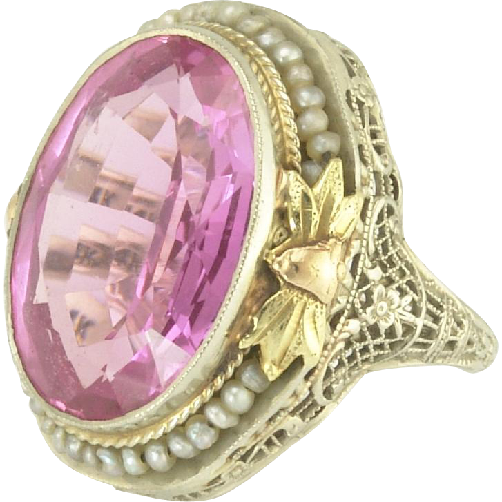 Striking Art Deco Synthetic Pink Sapphire and Seed Pearl Filigree Ring in 14k White and Yellow Gold