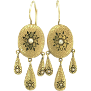 Desirable Victorian Enamel and Pearl Pendant Earrings in 14k