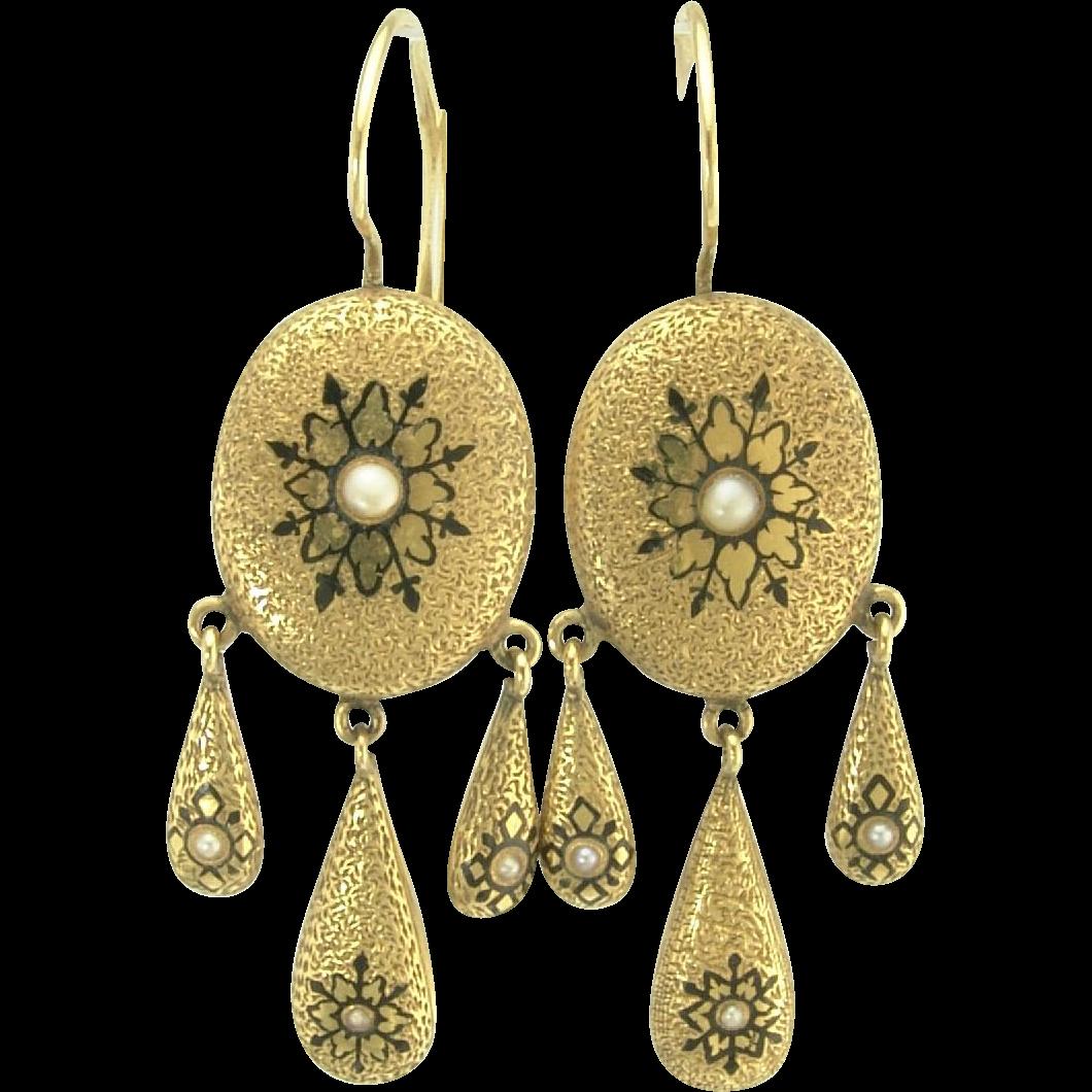 Desirable Victorian Enamel and Pearl Pendant Earrings in 14k