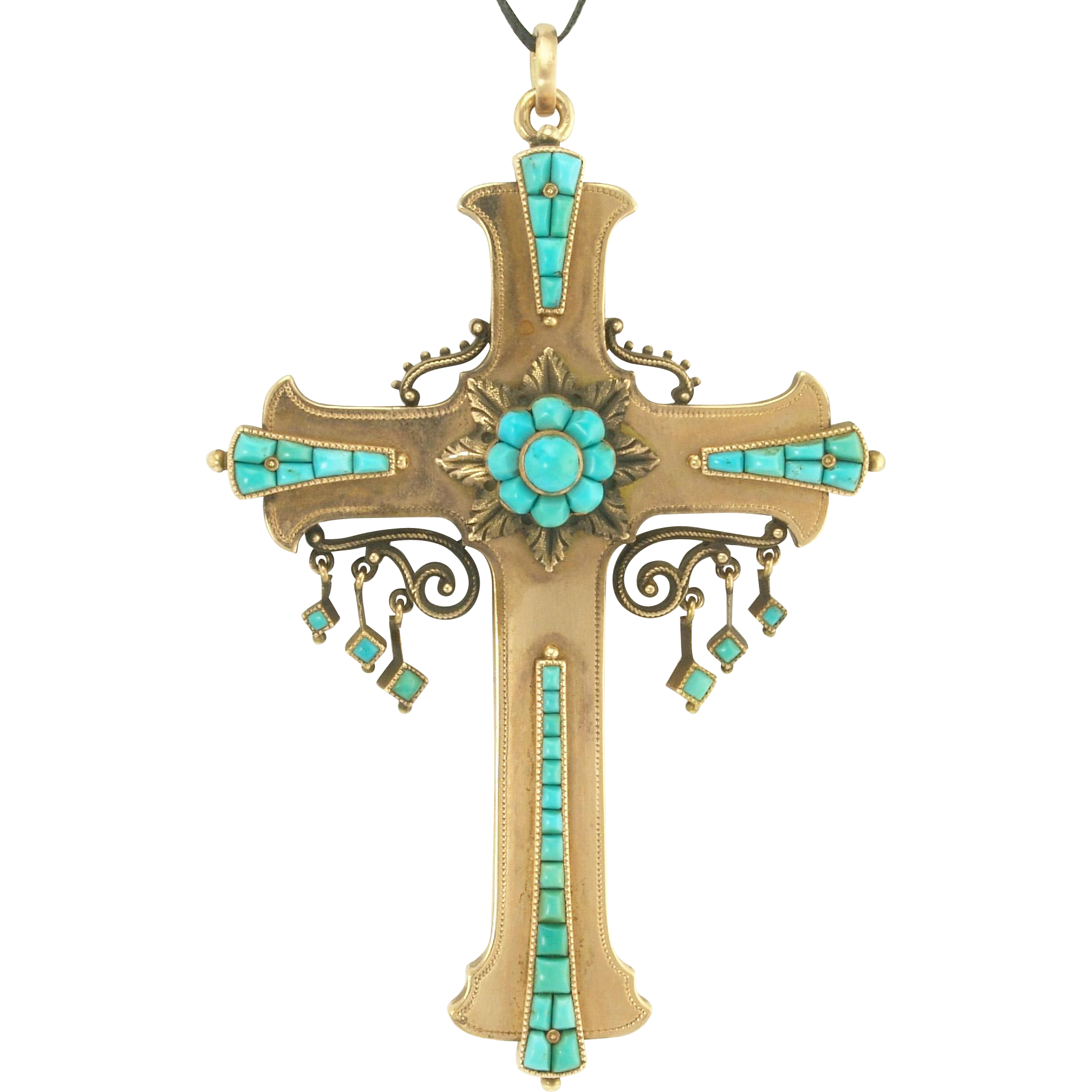 Grand Scale Antique Victorian Persian Turquoise Cross Pendant Brooch in 14k Gold