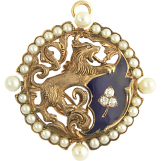 Antique Victorian Wolf and Clover Crest Pendant Watch Pin in Diamonds Pearls Enamel and 14k Gold