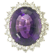 Luscious Estate Amethyst and Diamond Ring in 14k White Gold
