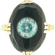 Art Deco Blue Zircon and Black Onyx Ring in 14k Gold