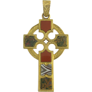 Rare and Gorgeous Victorian Scottish Agate Cross Pendant in 10k