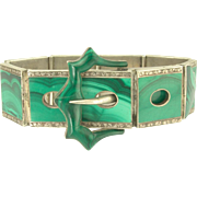 Impressive Victorian Scottish Malachite Buckle Bracelet in Sterling Silver