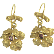 Charming Victorian Garnet Earrings in 14k