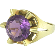 Vintage Mod Sculptural Amethyst Ring in 14k Gold