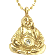 Estate Mia and Ko Buddha Pendant in 14k Gold with Diamond