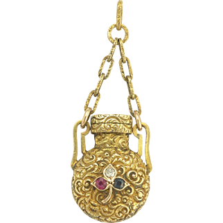 Antique Victorian Diamond Ruby Sapphire Shamrock Repousse Chatelaine Perfume Bottle Pendant in 14k Gold